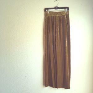 Zara wide leg gold velvet pants
